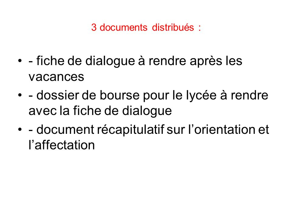 3 documents distribués :