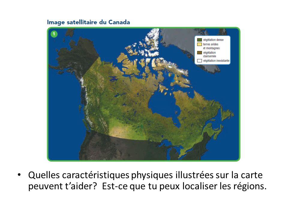 Quelles caractéristiques physiques illustrées sur la carte peuvent t'aider.