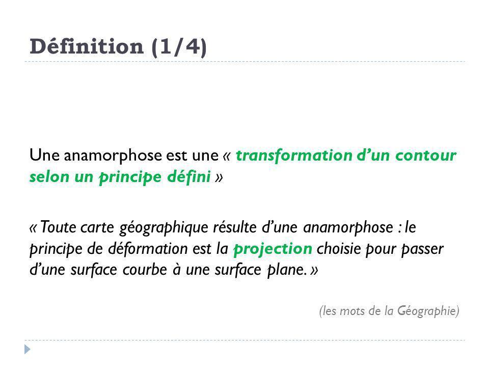 Définition (1/4) Une anamorphose est une « transformation d'un contour selon un principe défini »