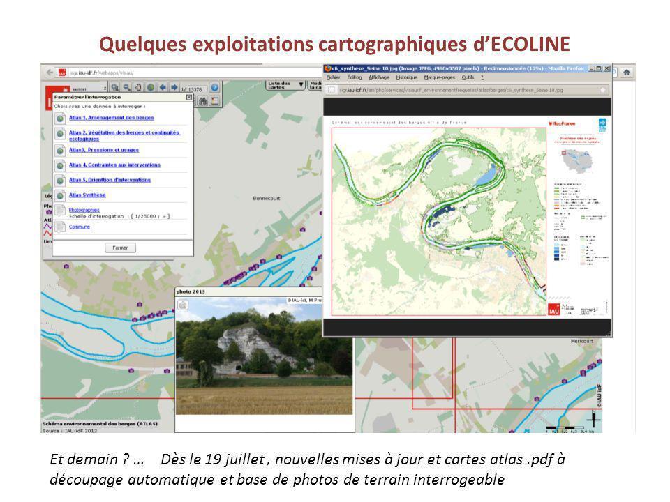 Quelques exploitations cartographiques d'ECOLINE