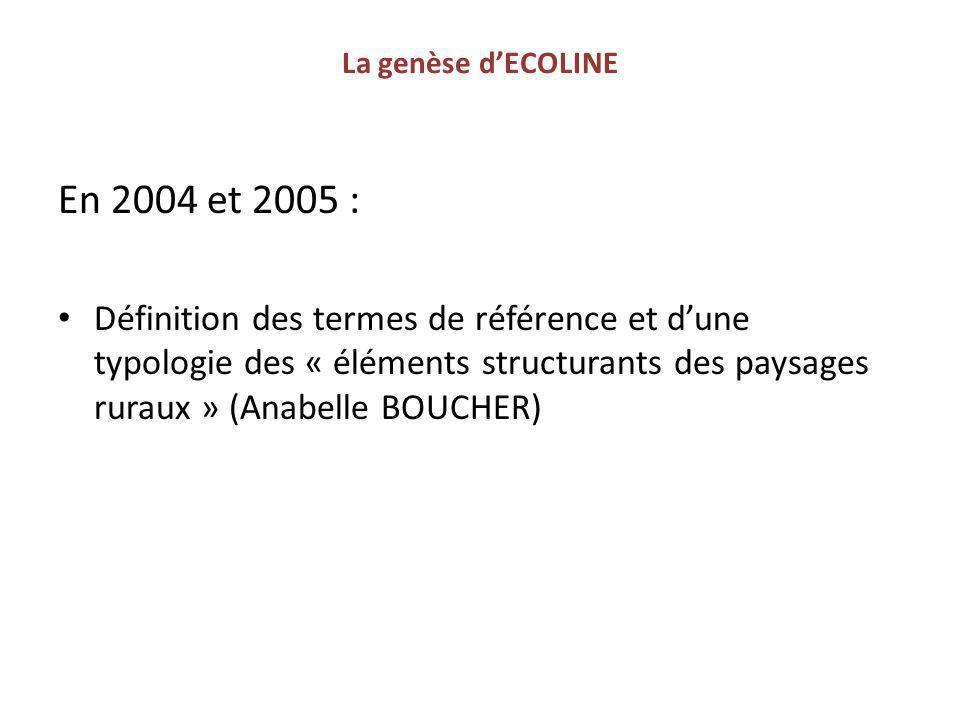 La genèse d'ECOLINE En 2004 et 2005 :