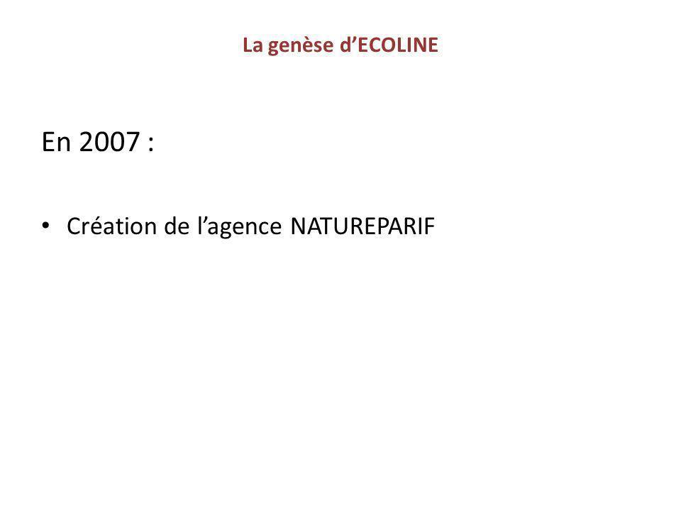 La genèse d'ECOLINE En 2007 : Création de l'agence NATUREPARIF