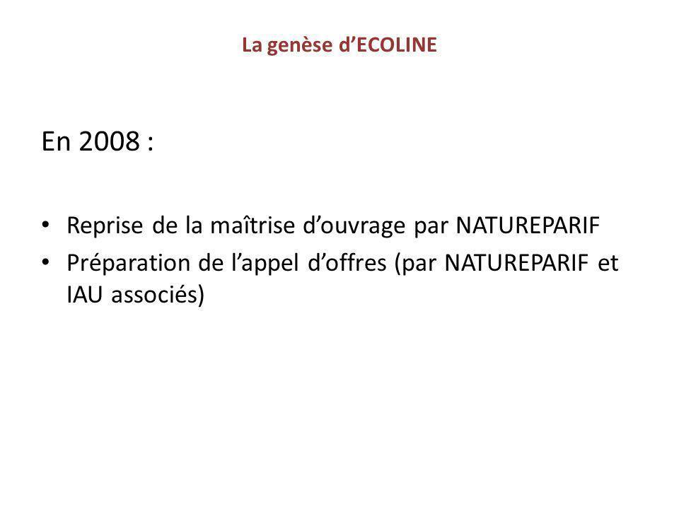 En 2008 : Reprise de la maîtrise d'ouvrage par NATUREPARIF