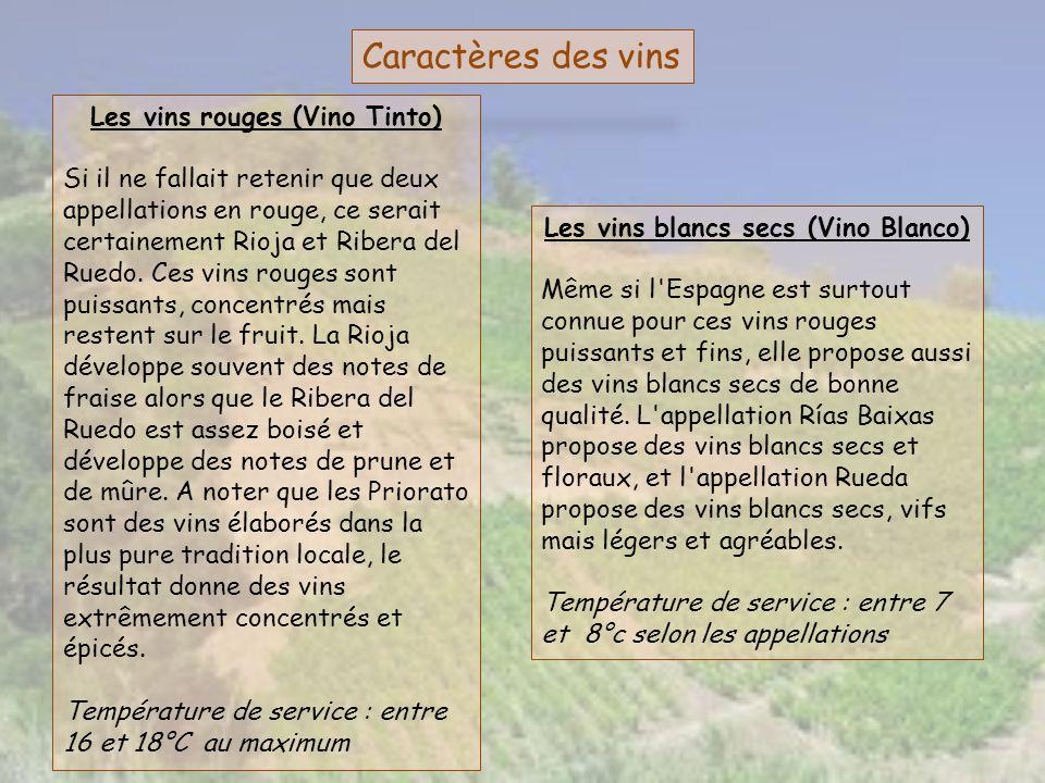Les vins rouges (Vino Tinto) Les vins blancs secs (Vino Blanco)