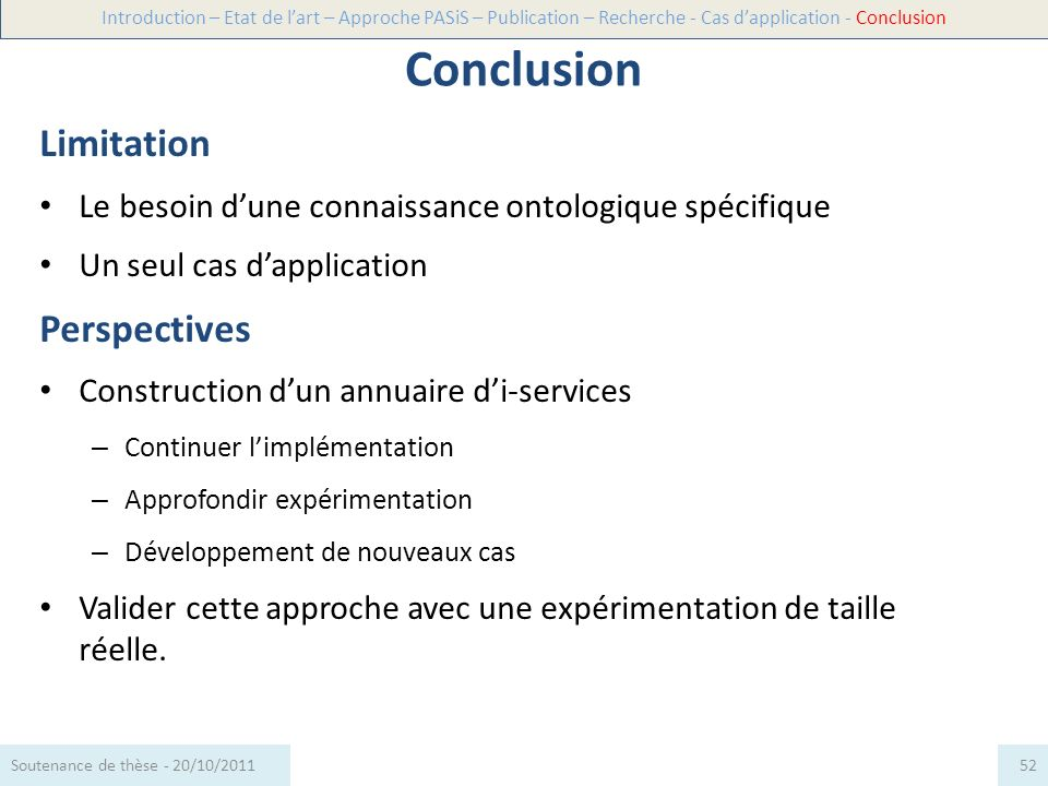 Conclusion Limitation Perspectives