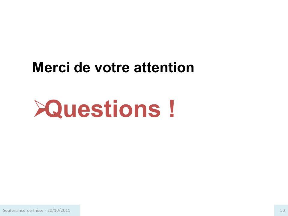 Questions ! Merci de votre attention Soutenance de thèse - 20/10/2011