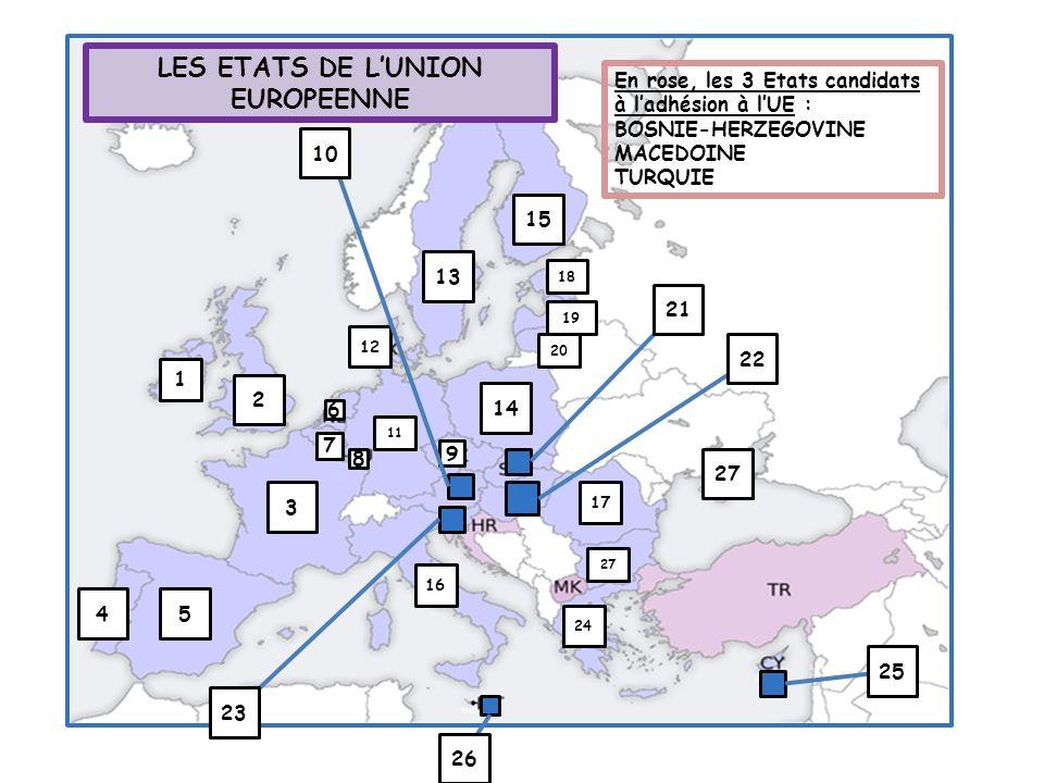 LES ETATS DE L'UNION EUROPEENNE