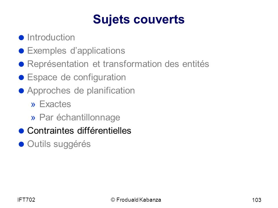 Sujets couverts Introduction Exemples d'applications