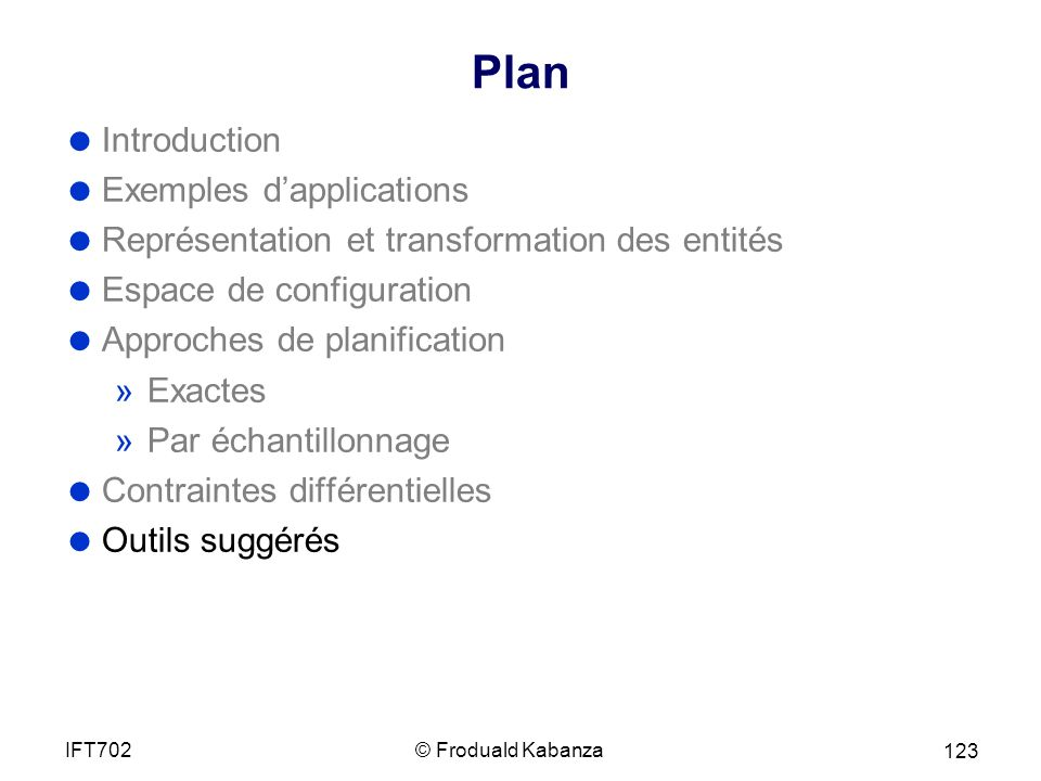 Plan Introduction Exemples d'applications