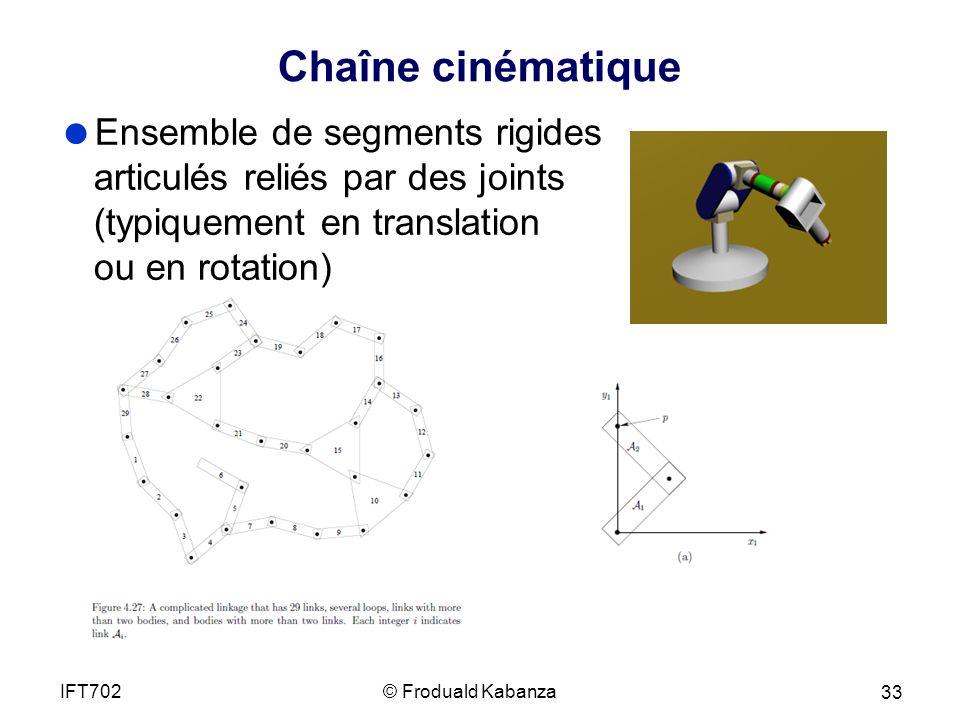 Chaîne cinématique Ensemble de segments rigides articulés reliés par des joints (typiquement en translation ou en rotation)