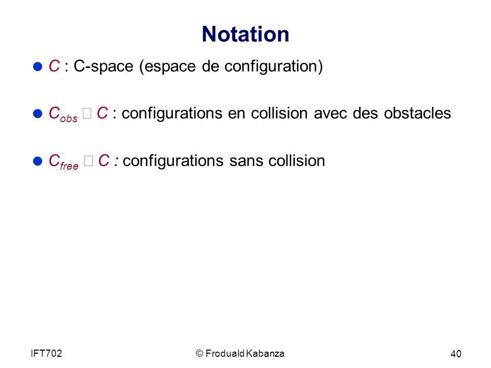 Notation C : C-space (espace de configuration)