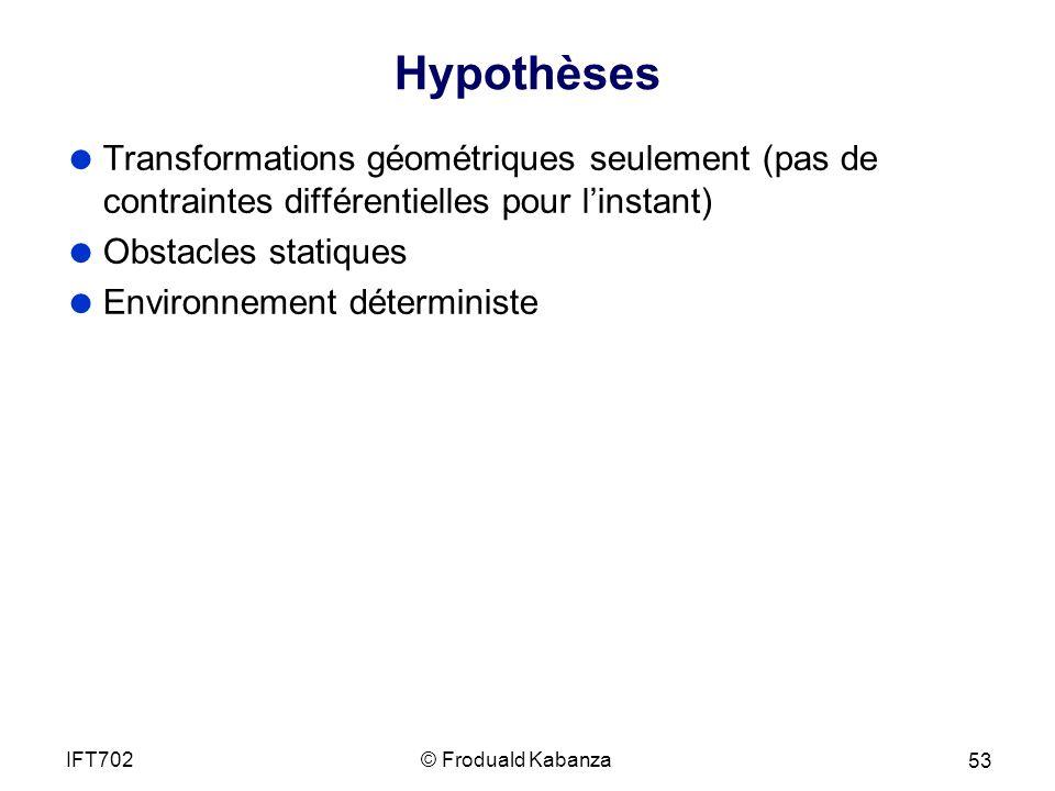 Hypothèses Transformations géométriques seulement (pas de contraintes différentielles pour l'instant)
