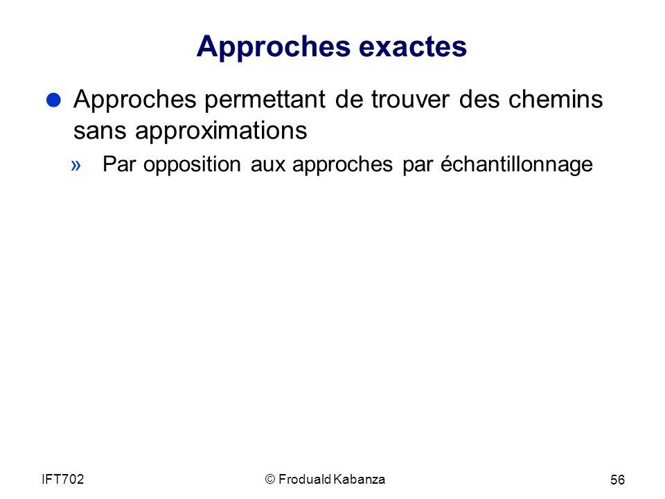 Approches exactes Approches permettant de trouver des chemins sans approximations. Par opposition aux approches par échantillonnage.