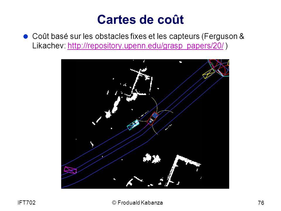 Cartes de coût Coût basé sur les obstacles fixes et les capteurs (Ferguson & Likachev: http://repository.upenn.edu/grasp_papers/20/ )