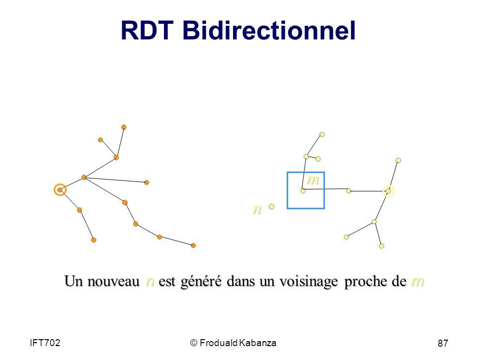 RDT Bidirectionnel m. n. Un nouveau n est généré dans un voisinage proche de m. IFT702. © Froduald Kabanza.