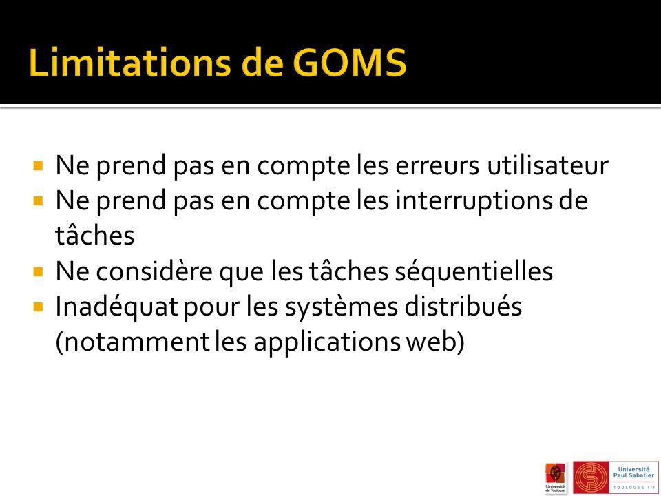 Limitations de GOMS Ne prend pas en compte les erreurs utilisateur