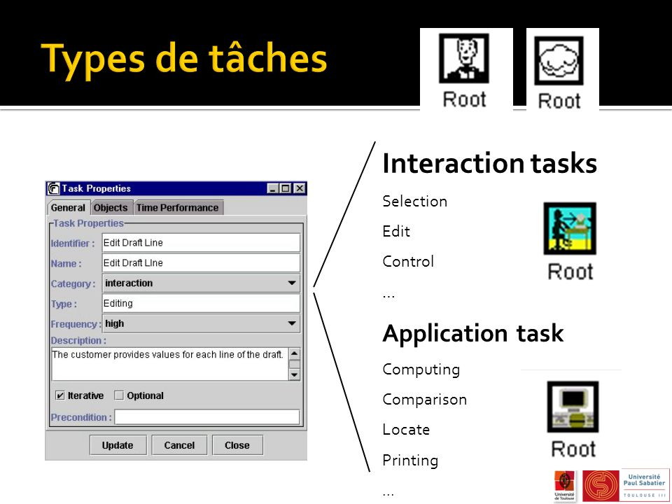Types de tâches Interaction tasks Application task Selection Edit