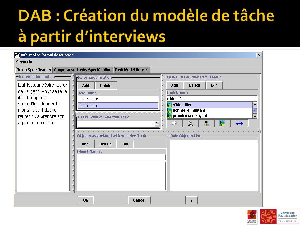 DAB : Création du modèle de tâche à partir d'interviews