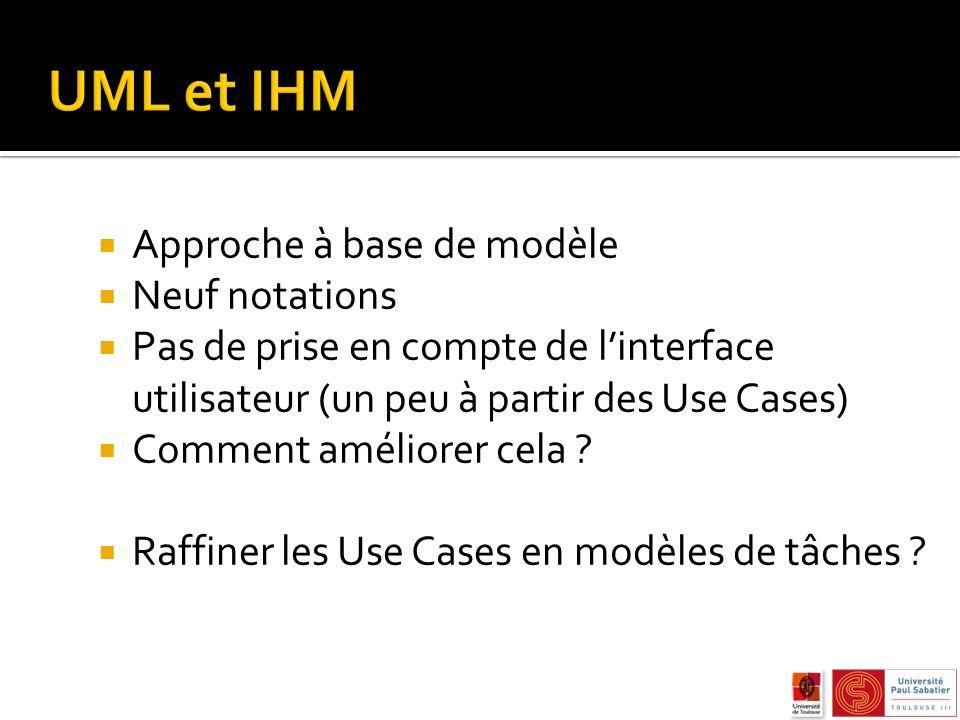 UML et IHM Approche à base de modèle Neuf notations