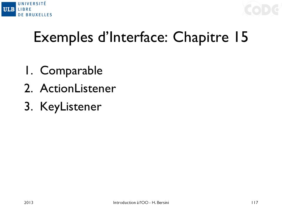Exemples d'Interface: Chapitre 15