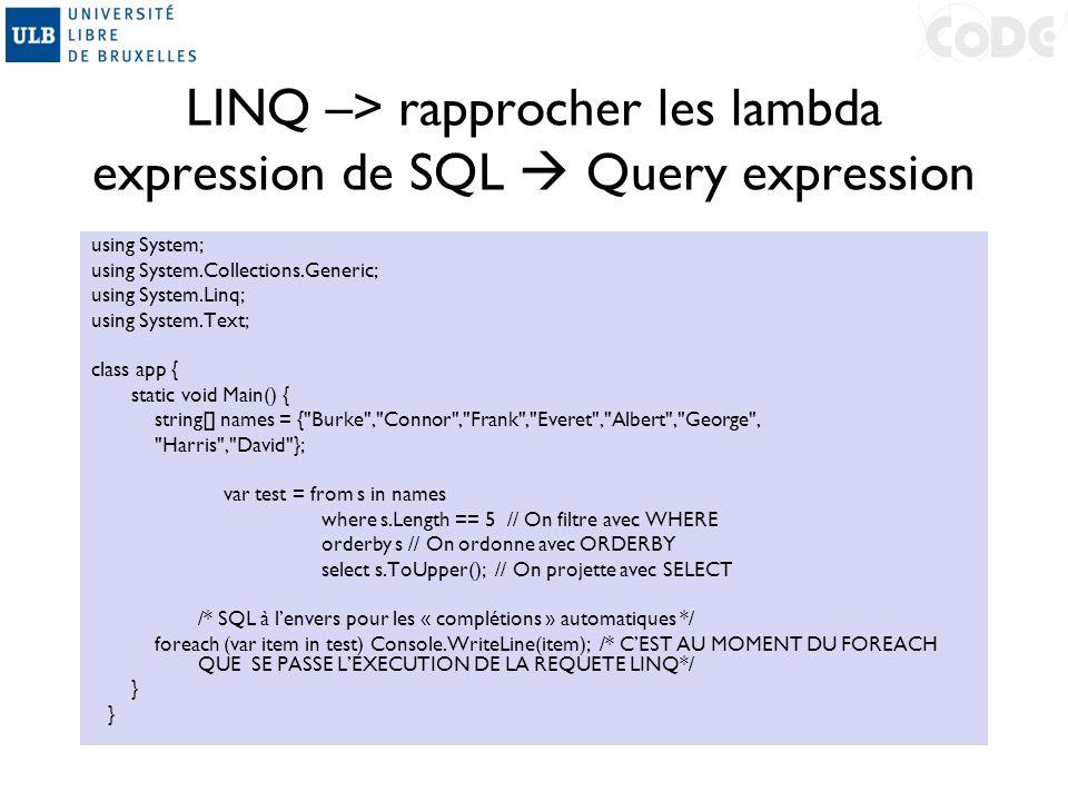 LINQ –> rapprocher les lambda expression de SQL  Query expression