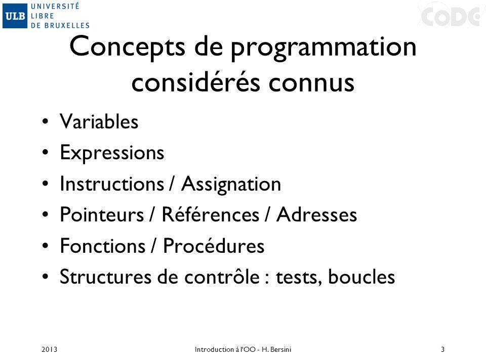 Concepts de programmation considérés connus