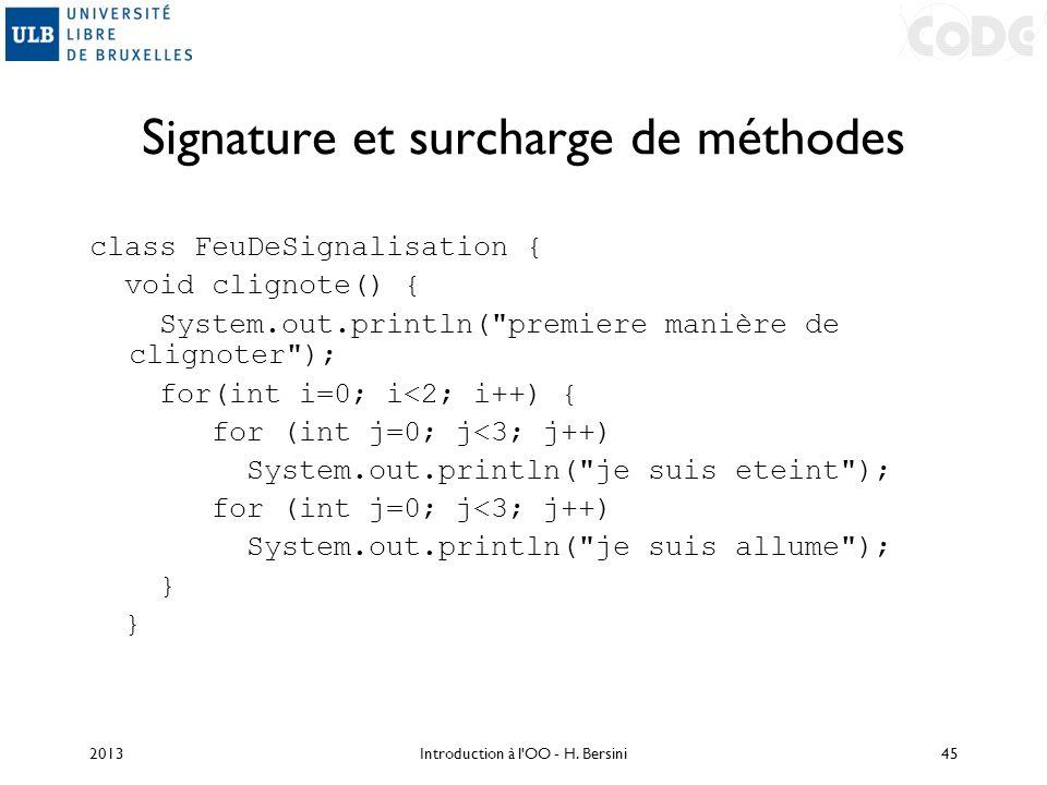 Signature et surcharge de méthodes
