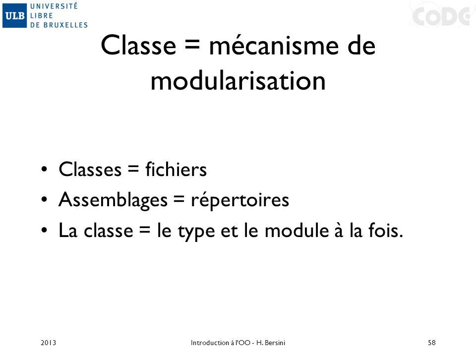 Classe = mécanisme de modularisation