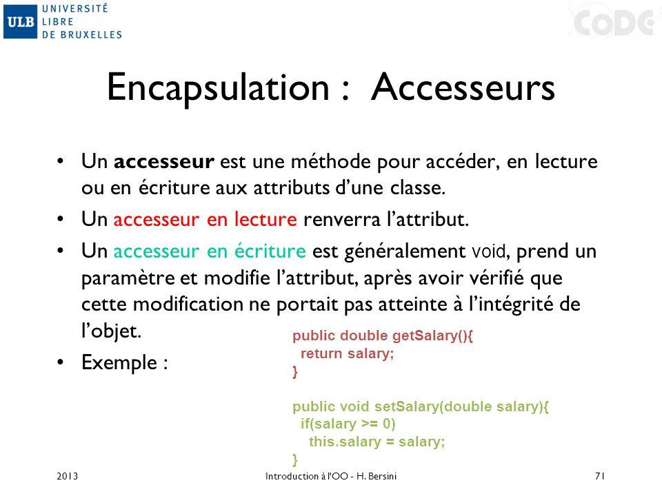 Encapsulation : Accesseurs