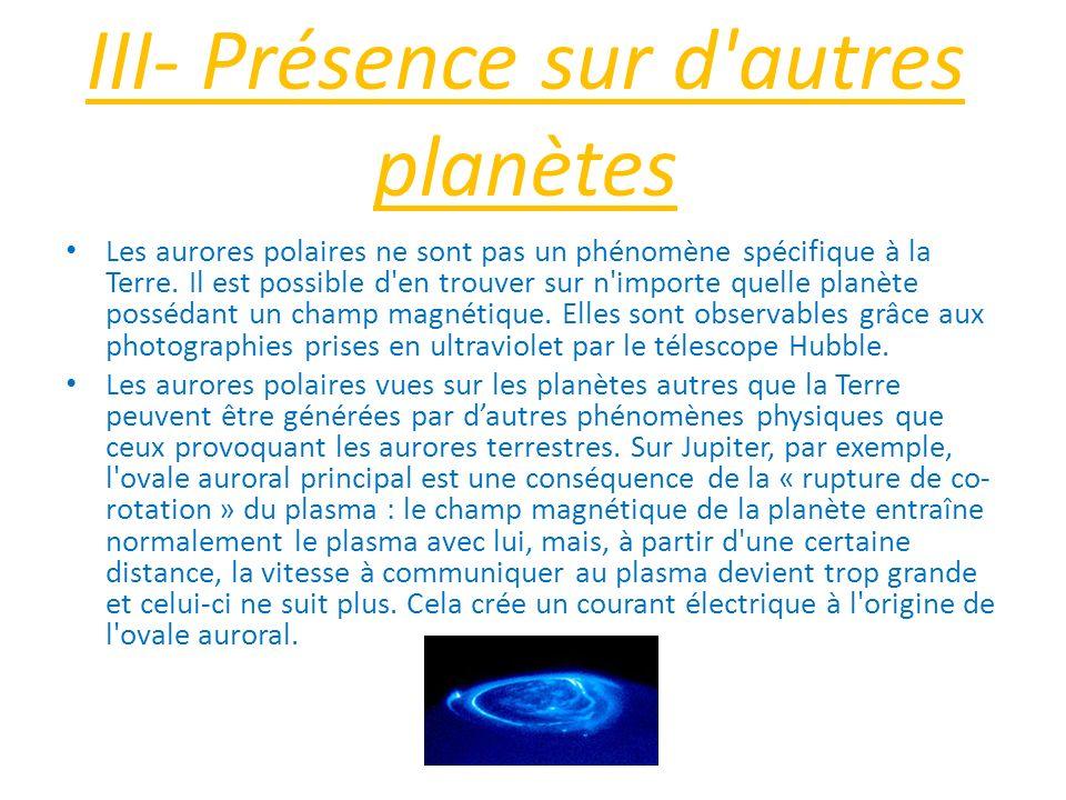 III- Présence sur d autres planètes