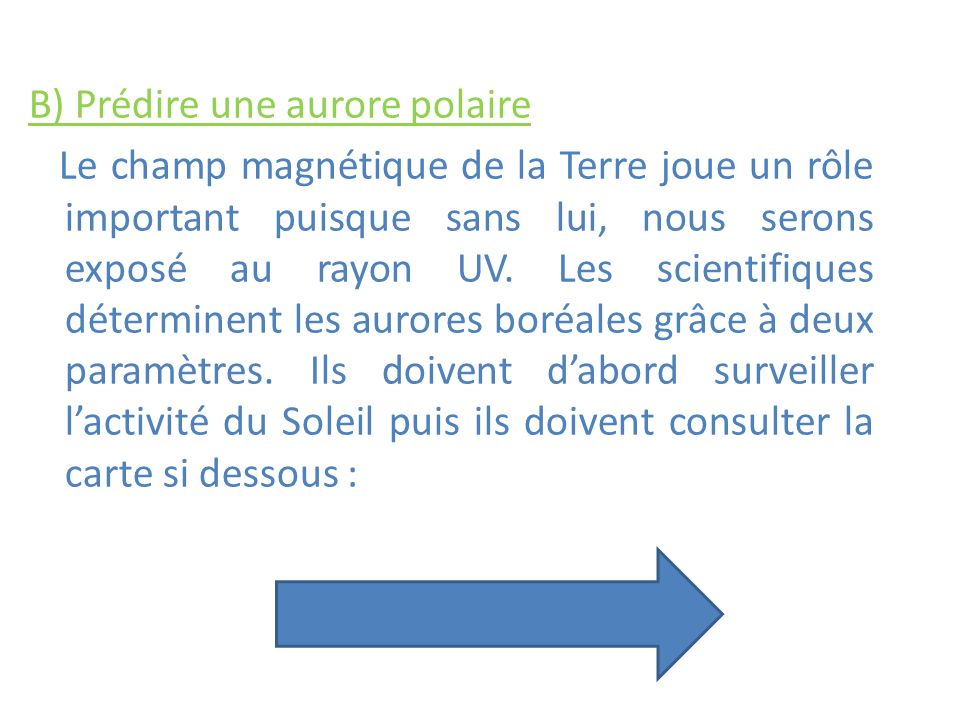 B) Prédire une aurore polaire Le champ magnétique de la Terre joue un rôle important puisque sans lui, nous serons exposé au rayon UV.