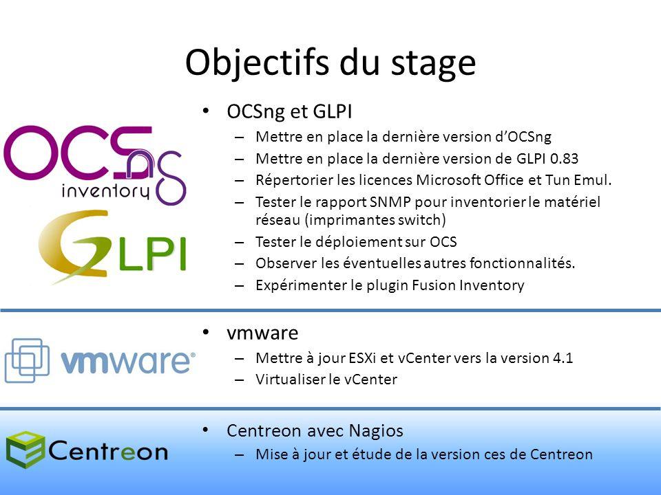 Objectifs du stage OCSng et GLPI vmware Centreon avec Nagios
