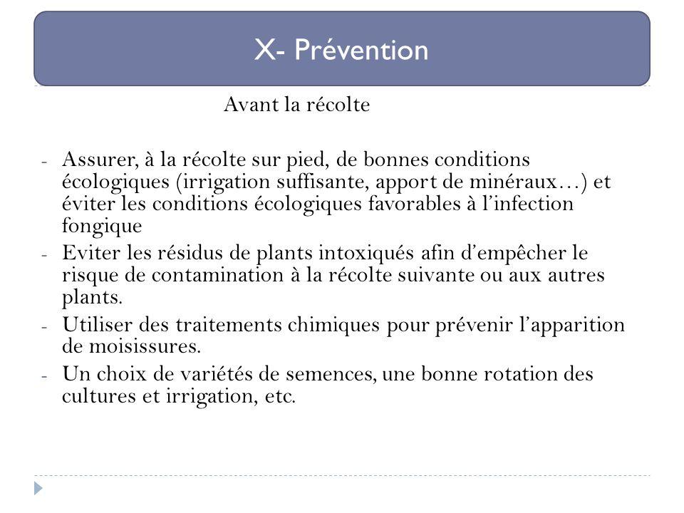 X- Prévention Avant la récolte