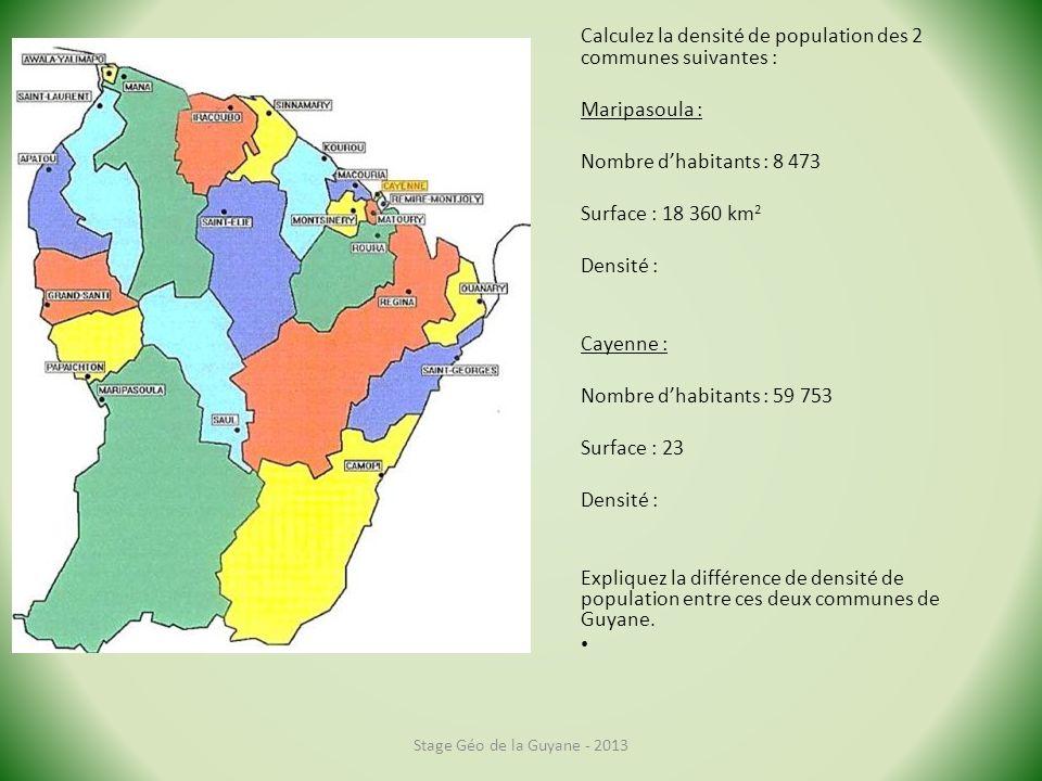 Calculez la densité de population des 2 communes suivantes :