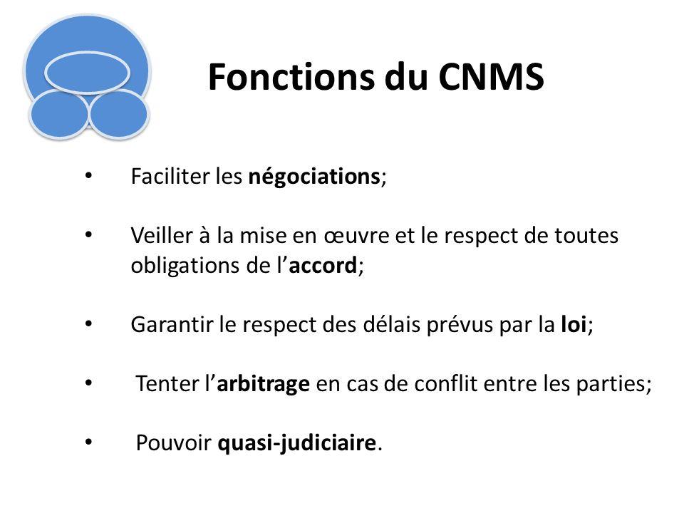 Fonctions du CNMS Faciliter les négociations;