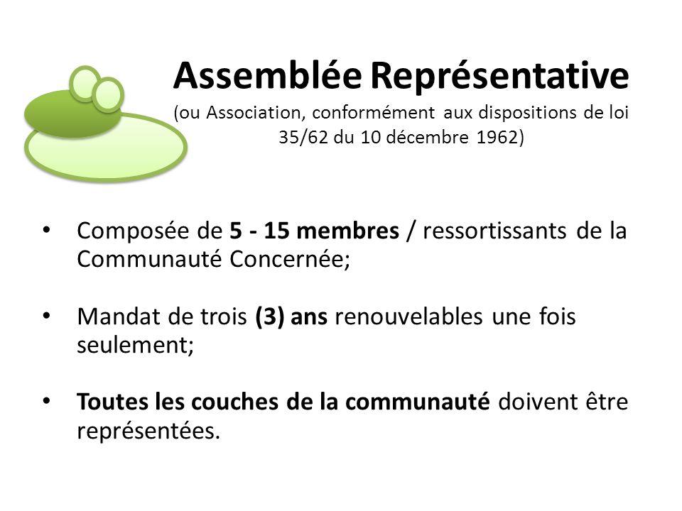 Assemblée Représentative (ou Association, conformément aux dispositions de loi 35/62 du 10 décembre 1962)