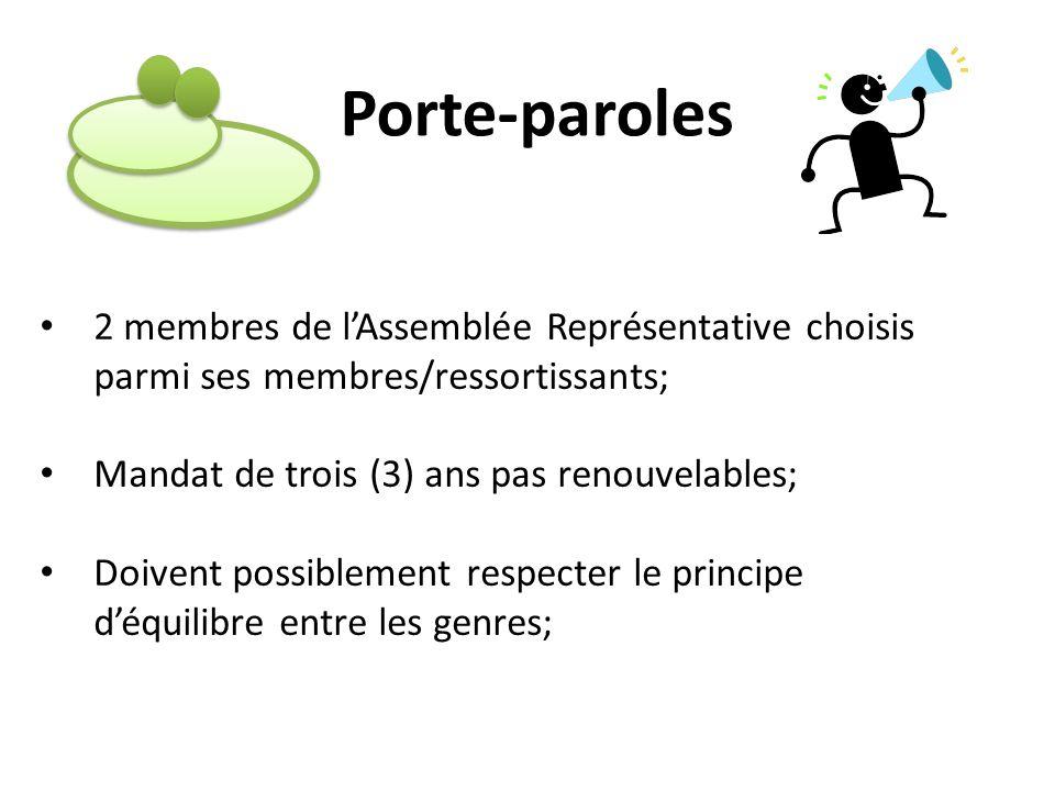 Porte-paroles 2 membres de l'Assemblée Représentative choisis parmi ses membres/ressortissants; Mandat de trois (3) ans pas renouvelables;