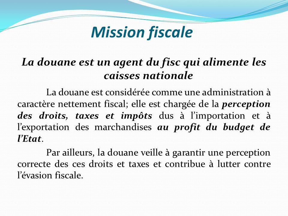 La douane est un agent du fisc qui alimente les caisses nationale
