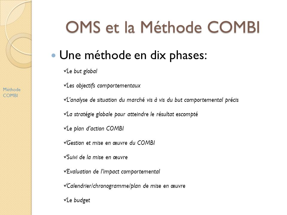 OMS et la Méthode COMBI Une méthode en dix phases: Le but global