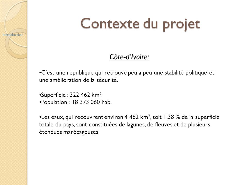 Contexte du projet Côte-d'Ivoire: