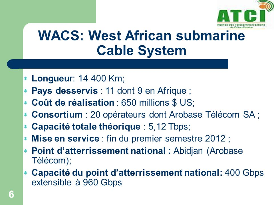 WACS: West African submarine Cable System