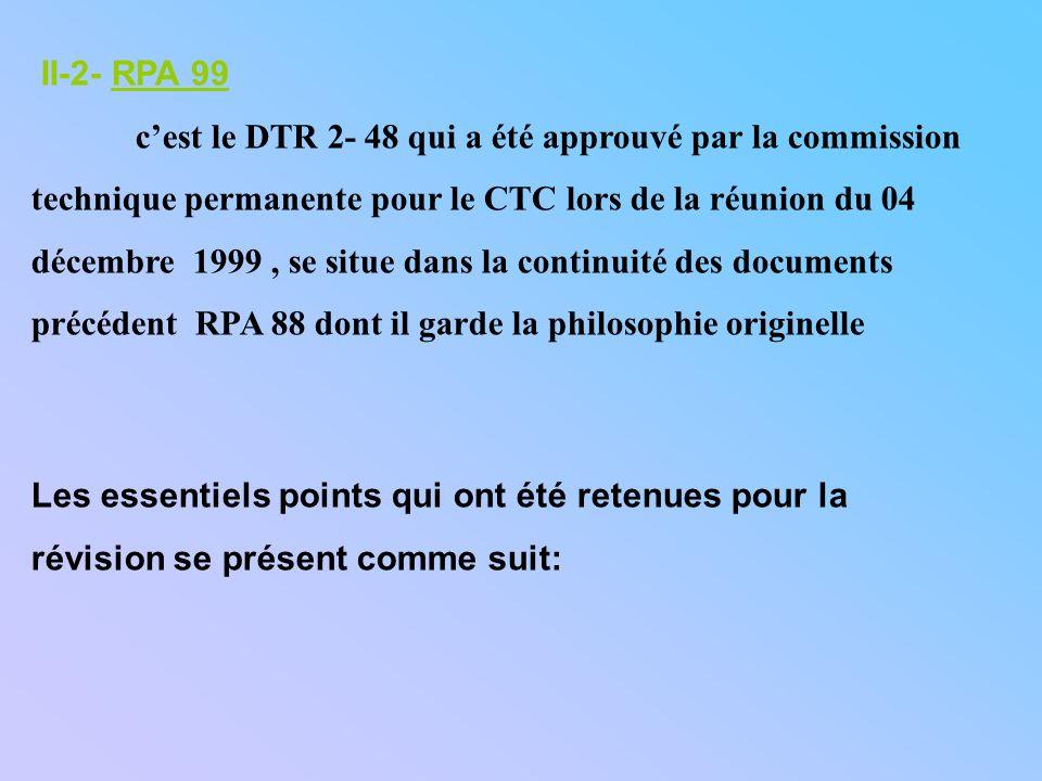 II-2- RPA 99 c'est le DTR 2- 48 qui a été approuvé par la commission. technique permanente pour le CTC lors de la réunion du 04.
