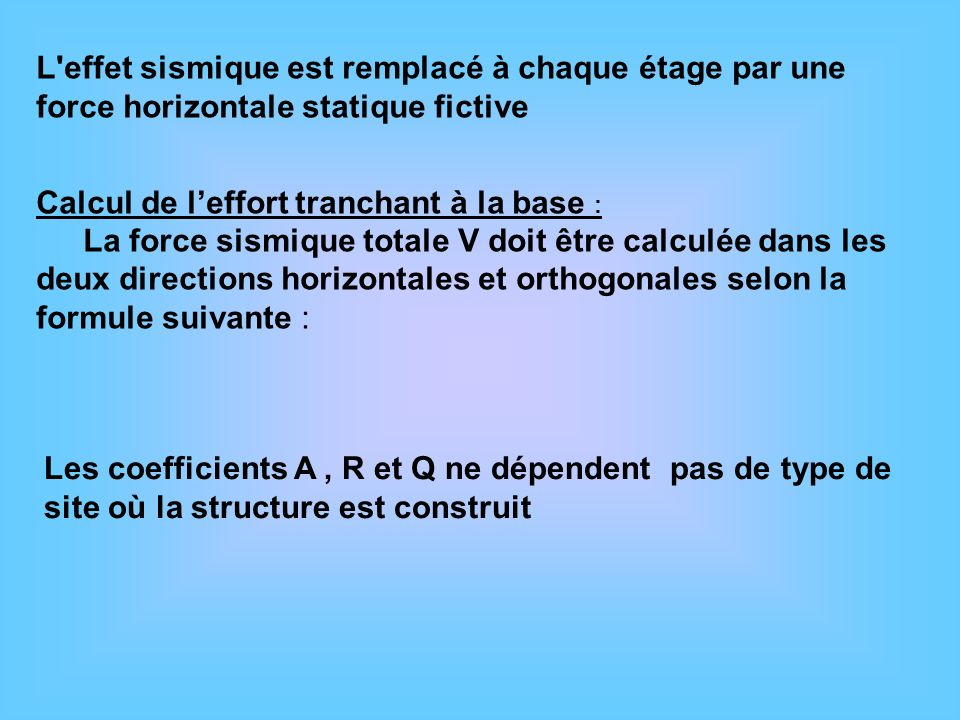 Calcul de l'effort tranchant à la base :