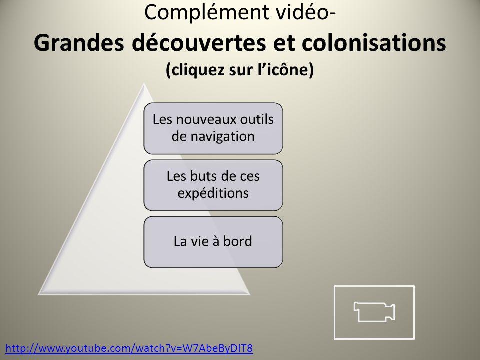Complément vidéo- Grandes découvertes et colonisations (cliquez sur l'icône)