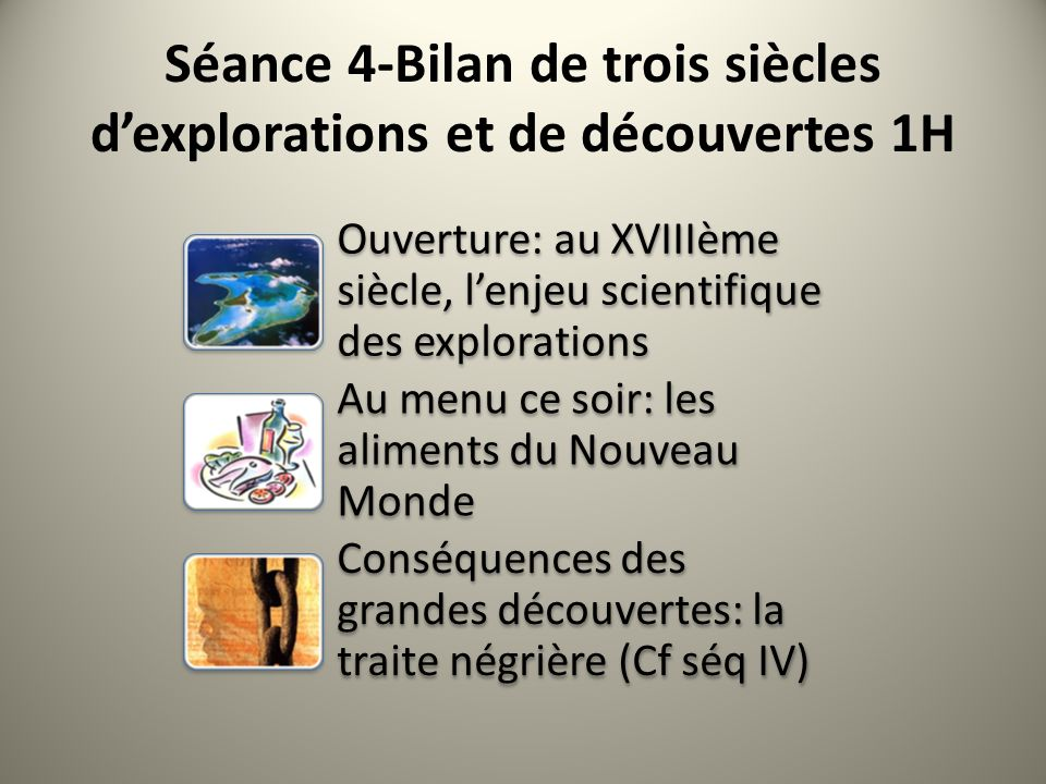 Séance 4-Bilan de trois siècles d'explorations et de découvertes 1H