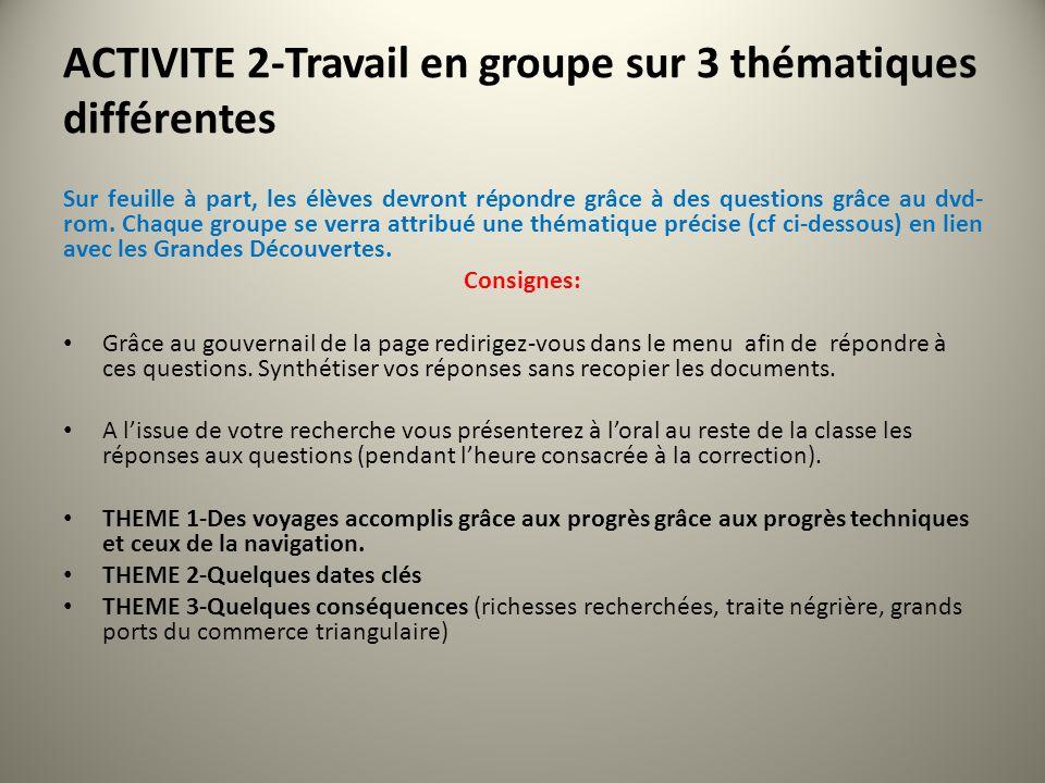 ACTIVITE 2-Travail en groupe sur 3 thématiques différentes
