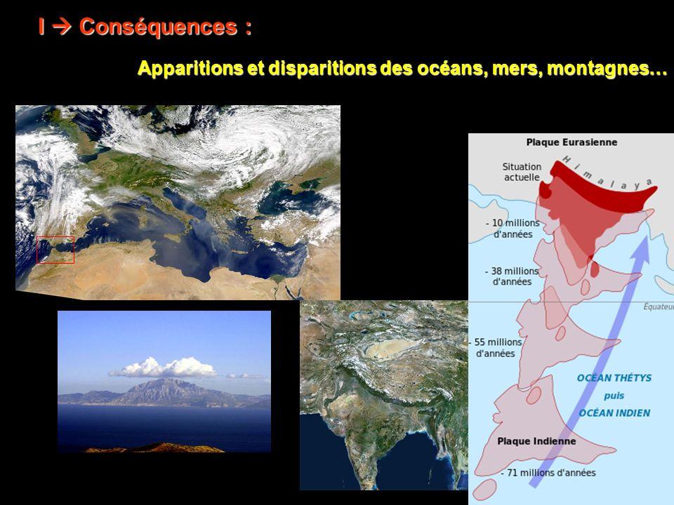 I  Conséquences : Apparitions et disparitions des océans, mers, montagnes…