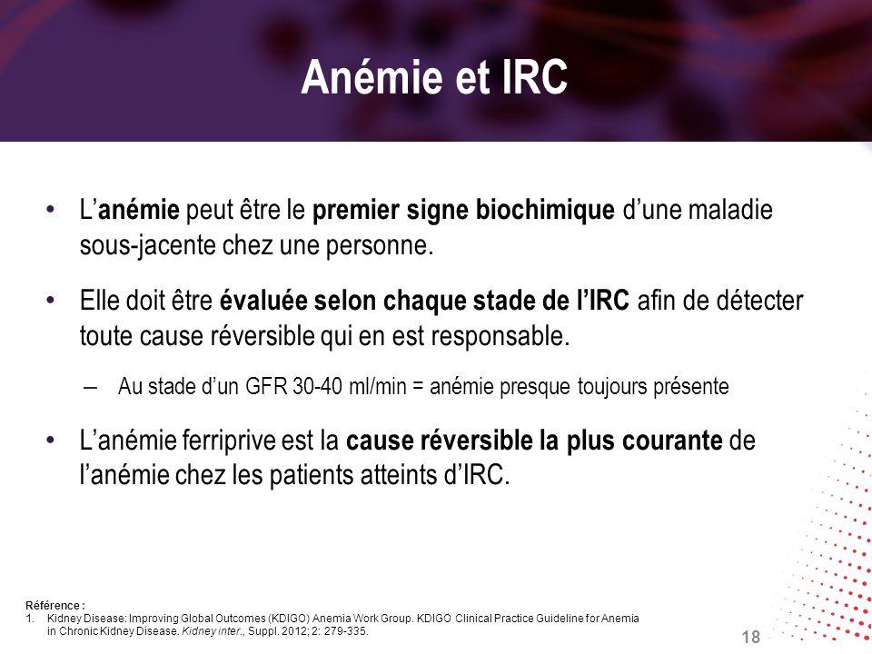 Anémie et IRC L'anémie peut être le premier signe biochimique d'une maladie sous-jacente chez une personne.
