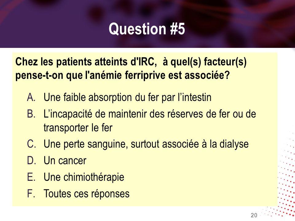 Question #5 Chez les patients atteints d IRC, à quel(s) facteur(s) pense-t-on que l anémie ferriprive est associée