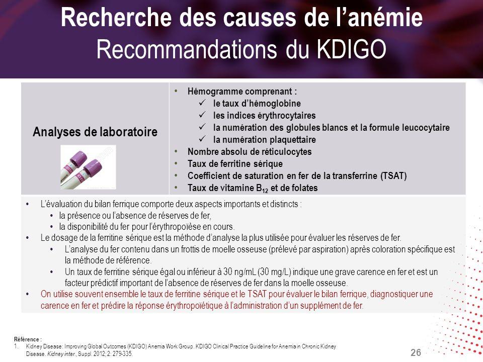 Recherche des causes de l'anémie Recommandations du KDIGO